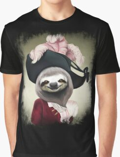 Aristocratic Lady Sloth Oil Painting Style Portrait Graphic T-Shirt