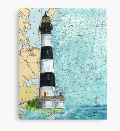 Bodie Island Lighthouse NC Chart Map Cathy Peek Canvas Print