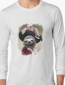 Aristocratic Lady Sloth Oil Painting Style Portrait Long Sleeve T-Shirt