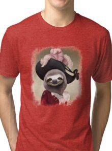 Aristocratic Lady Sloth Oil Painting Style Portrait Tri-blend T-Shirt