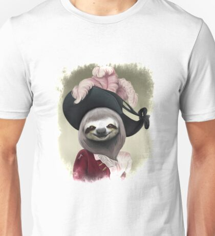 Aristocratic Lady Sloth Oil Painting Style Portrait Unisex T-Shirt