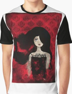 Female Portrait midst a Red Damask Painted Wall Graphic T-Shirt
