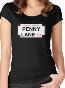 Penny Lane, Liverpool Street Sign, UK Women's Fitted Scoop T-Shirt