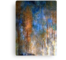 Gold Tree Sky Blue Oil Painting Canvas Print