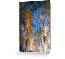 Gold Tree Sky Blue Oil Painting Greeting Card