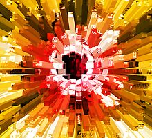 Extrusion Abstract Red Orange Yellow by Natalie Kinnear