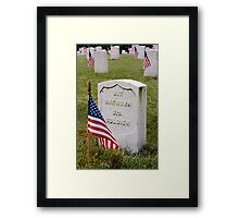 Unknown Hero on Memorial Day Framed Print