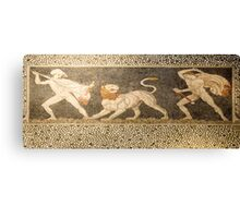 Ancient Greek hunting scene mosaic from Thessaly, Greece  Canvas Print
