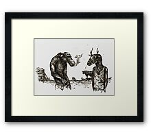 Ed and Hal (Ink on Wood) Framed Print