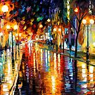 NIGHT PERSPECTIVE - OIL PAINTING BY LEONID AFREMOV by Leonid  Afremov