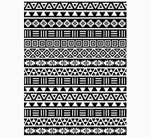 Aztec Influence Pattern II White on Black Unisex T-Shirt