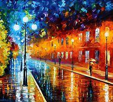BLUE LIGHTS - OIL PAINTING BY LEONID AFREMOV by Leonid  Afremov