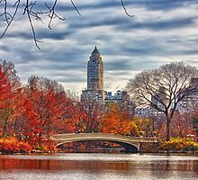 Bow Bridge, Central Park, New York on an Autumn day by printsforwalls