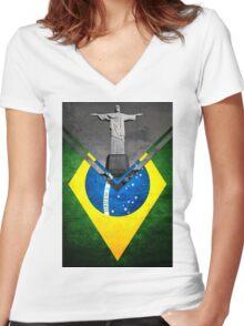 Flags - Brazil Women's Fitted V-Neck T-Shirt