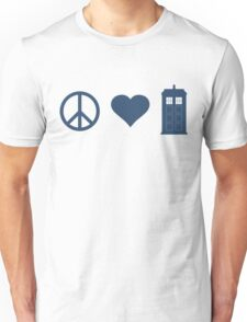 Peace, Love, Tardis Unisex T-Shirt