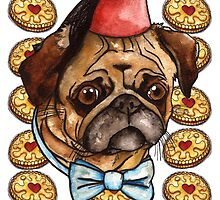 Pug & biscuits by Jazmine Phillips