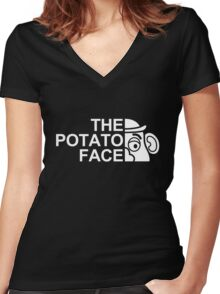 The potato face Women's Fitted V-Neck T-Shirt