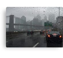 Brooklyn bridge and FDR drive at rainy day Canvas Print