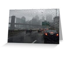 Brooklyn bridge and FDR drive at rainy day Greeting Card