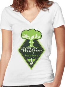 WILDFIRE HOT SAUCE Women's Fitted V-Neck T-Shirt