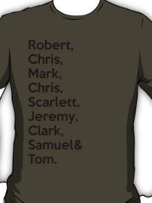 The Avengers Cast Names  T-Shirt