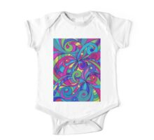 Floral Doodle Drawing One Piece - Short Sleeve