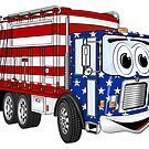Patriotic Garbage Truck Cartoon by Graphxpro