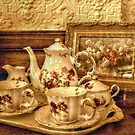 Antique Porcelain Tea Set and Print in the Lambert Castle Gift Shop by Jane Neill-Hancock