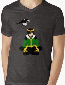 A boy and his magpie (cowl off) Mens V-Neck T-Shirt