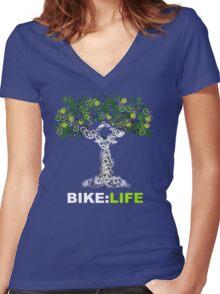 BIKE:LIFE in white Women's Fitted V-Neck T-Shirt