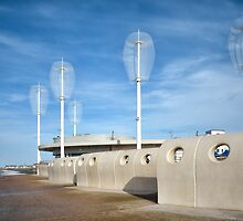 Wind Turbines On Cleveleys Cafe by Gary Kenyon