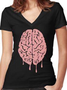 Brain melt - vector illustration of melting brain! Women's Fitted V-Neck T-Shirt