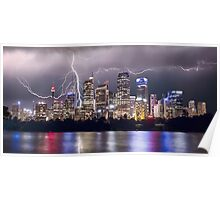 Lightning Over Sydney City Poster