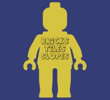 Yellow Minifig with 'Bricks, Tiles, Slopes' Slogan by Customize My Minifig by ChilleeW