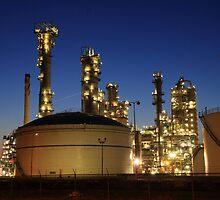 Refinery at night by Peet de Rouw