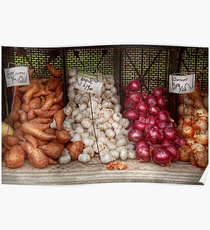 Food - Vegetable - Sweet potatoes, Garlin, and Onions, Yum  Poster