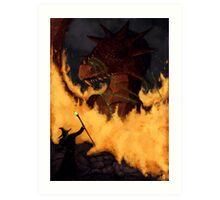 Dragon & Wizard  Art Print