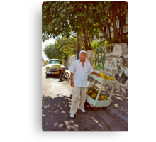 Old Man and Fruit Stand Canvas Print