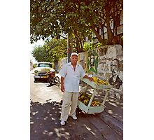 Old Man and Fruit Stand Photographic Print