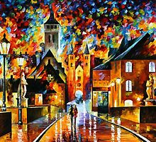 NIGHT IN THE OLD CITY - OIL PAINTING BY LEONID AFREMOV by Leonid  Afremov