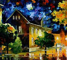 QUIET TOWN - OIL PAINTING BY LEONID AFREMOV by Leonid  Afremov