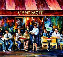 CAFE IN PARIS - OIL PAINTING BY LEONID AFREMOV by Leonid  Afremov