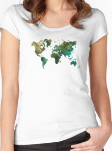 world map Women's Fitted Scoop T-Shirt