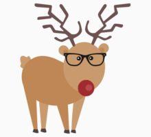 Hipster Rudolph Reindeer Cute Holiday Art by JannaSalak