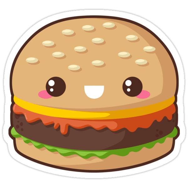 """Kawaii Cheeseburger"" Stickers by pai-thagoras"