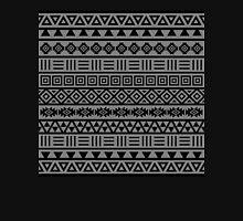 Aztec Influence II Pattern Black on Grey Unisex T-Shirt