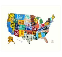 License Plate Map of The United States 2012 Edition 3 on White Art Print