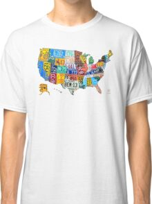 License Plate Map of The United States 2012 Edition 3 on White Classic T-Shirt