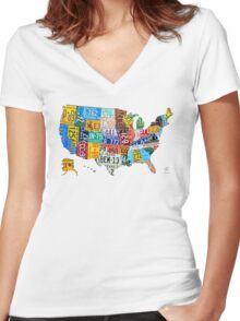 License Plate Map of The United States 2012 Edition 3 on White Women's Fitted V-Neck T-Shirt