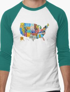 License Plate Map of The United States 2012 Edition 3 on White Men's Baseball ¾ T-Shirt